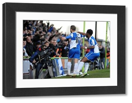Bristol Rovers' Matty Taylor celebrates with Bristol Rovers' Ellis Harrison - Photo mandatory by-line: Neil Brookman/JMP - Mobile: - 29/04/2015 - SPORT - Football - Nailsworth - The New Lawn - Forest Green Rovers v Bristol Rovers - Vanarama