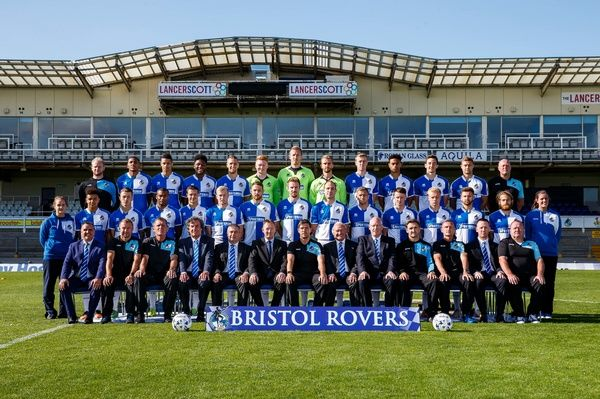 First Team Photo with additional staff and sponsors - Mandatory byline: Rogan Thomson/JMP - - 07/09/2015 - FOOTBALL - Memorial Stadium - Bristol, England - Bristol Rovers Team Photos