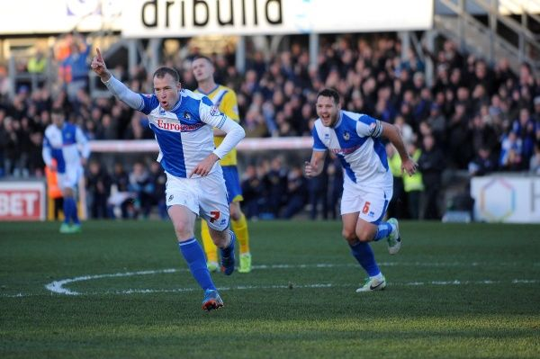 Bristol Rovers' David Clarkson celebrates his goal. - Photo mandatory by-line: Dougie Allward/JMP - Tel: Mobile: 30/11/2013 - SPORT - Football - Bristol - Memorial Stadium - Bristol Rovers v AFC Wimbledon - Sky Bet League Two