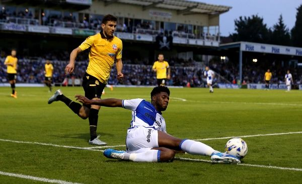 Ellis Harrison of Bristol Rovers slides to keep the ball in play - Mandatory by-line: Robbie Stephenson/JMP - 17/08/2016 - FOOTBALL - Memorial Stadium - Bristol, England - Bristol Rovers v Bolton Wanderers - Sky Bet League One
