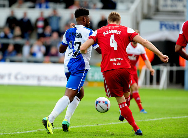 FC Halifax Town's Marc Roberts clearance hits Bristol Rovers' Ellis Harrison for Rovers second goal - Photo mandatory by-line: Neil Brookman - 30/08/2014 - SPORT - FOOTBALL - Bristol - Memorial Stadium - Bristol Rovers v FC Halifax - Vanarama