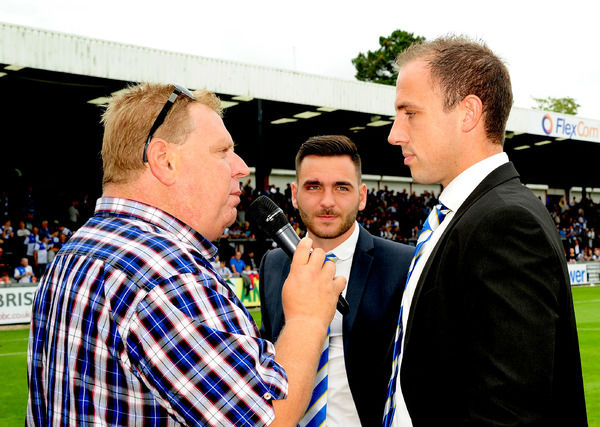 Bristol Rovers' Mark McCrystal and Jake Gosling - Photo mandatory by-line: Neil Brookman - 30/08/2014 - SPORT - FOOTBALL - Bristol - Memorial Stadium - Bristol Rovers v FC Halifax - Vanarama Football Conference