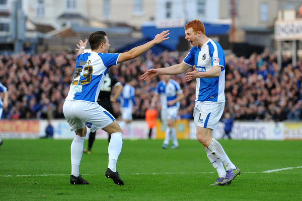 Rory Gaffney of Bristol Rovers celebrates his goal which makes it 1-0 with Billy Bodin - Mandatory byline: Dougie Allward/JMP - - 28/12/2015 - FOOTBALL - Memorial Stadium - Bristol, England - Bristol Rovers v Leyton Orient - Sky Bet League Two