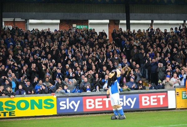 Bristol Rovers fans - Mandatory byline: Neil Brookman/JMP - 20/02/2016 - FOOTBALL - Memorial Stadium - Bristol, England - Bristol Rovers v Morecambe - Sky Bet League Two