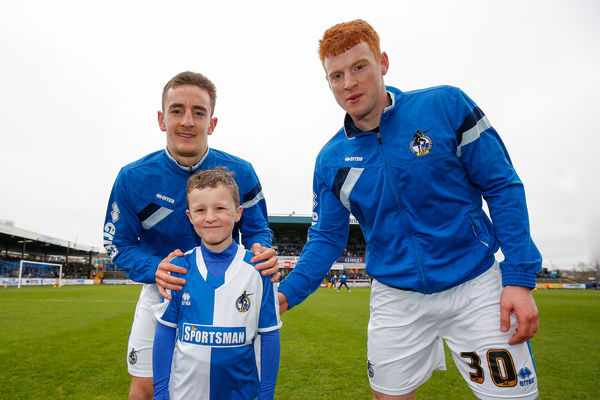 Mascot picture with Tom Lockyer and Rory Gaffney of Bristol Rovers - Mandatory byline: Rogan Thomson/JMP - - 20/02/2016 - FOOTBALL - Memorial Stadium - Bristol, England - Bristol Rovers v Morecambe - Sky Bet League 2
