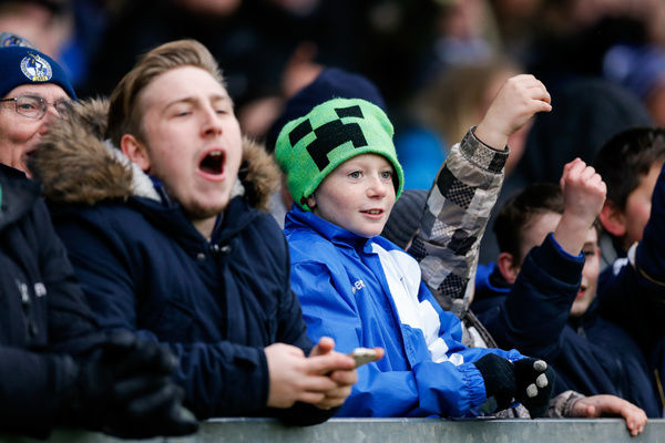 Bristol Rovers fans react after Andrew Fleming of Morecambe is sent off - Mandatory byline: Rogan Thomson/JMP - - 20/02/2016 - FOOTBALL - Memorial Stadium - Bristol, England - Bristol Rovers v Morecambe - Sky Bet League 2