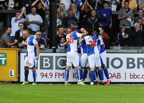 GOAL CELEBRATIONS. Bristol Rovers' Tom Lockyer celebrates with his team mates after scoring