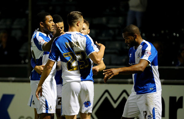 Bristol Rovers celebrate Jermaine Easter (R) goal - Mandatory byline: Neil Brookman/JMP - - 06/10/2015 - FOOTBALL - Memorial Stadium - Bristol, England - Bristol Rovers v Wycombe Wanderers - JPT Trophy