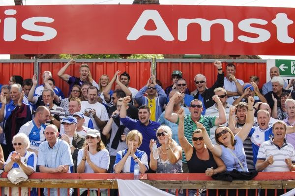 Bristol Rovers fans celebrate a goal from Eliot Richards to equalise the score at 1-1 - Photo mandatory by-line: Rogan Thomson/JMP - Tel: Mobile: 03/08/2013 - SPORT - FOOTBALL - St James Park - Exeter - Exeter City v Bristol Rovers - Sky Bet