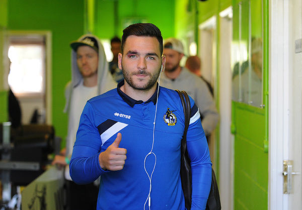 A thumbs up from Bristol Rovers' Jake Gosling - Photo mandatory by-line: Neil Brookman/JMP -29/04/2015 - SPORT - Football - Nailsworth - The New Lawn - Forest Green Rovers v Bristol Rovers - Vanarama Football Conference