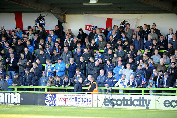 Bristol Rovers fans - Photo mandatory by-line: Neil Brookman/JMP - Mobile: - 29/04/2015 - SPORT - Football - Nailsworth - The New Lawn - Forest Green Rovers v Bristol Rovers - Vanarama Football Conference