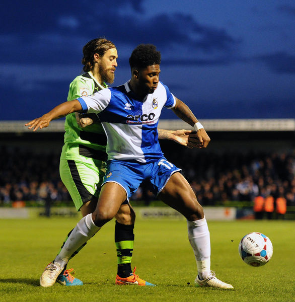 Bristol Rovers' Ellis Harrison is closed down by Forest Green Rovers's Rob Sinclair - Photo mandatory by-line: Dougie Allward/JMP - Mobile: - 29/04/2015 - SPORT - Football - Nailsworth - The New Lawn - Forest Green Rovers v Bristol Rovers