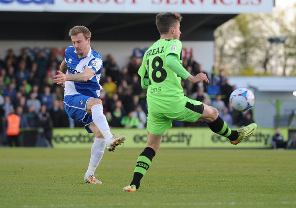 Bristol Rovers' Chris Lines takes a shot on goal - Photo mandatory by-line: Dougie Allward/JMP -29/04/2015 - SPORT - Football - Nailsworth - The New Lawn - Forest Green Rovers v Bristol Rovers - Vanarama Football Conference