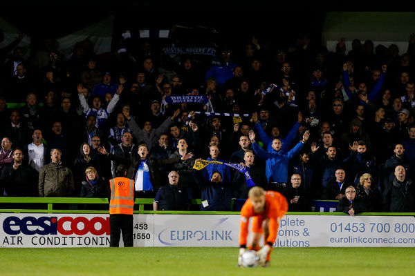 Bristol Rovers supporters celebrate after Bristol Rovers win 0-1 - Photo mandatory by-line: Rogan Thomson/JMP - - 29/04/2015 - SPORT - FOOTBALL - Nailsworth, England - The New Lawn - Forest Green Rovers v Bristol Rovers - Vanarama Conference