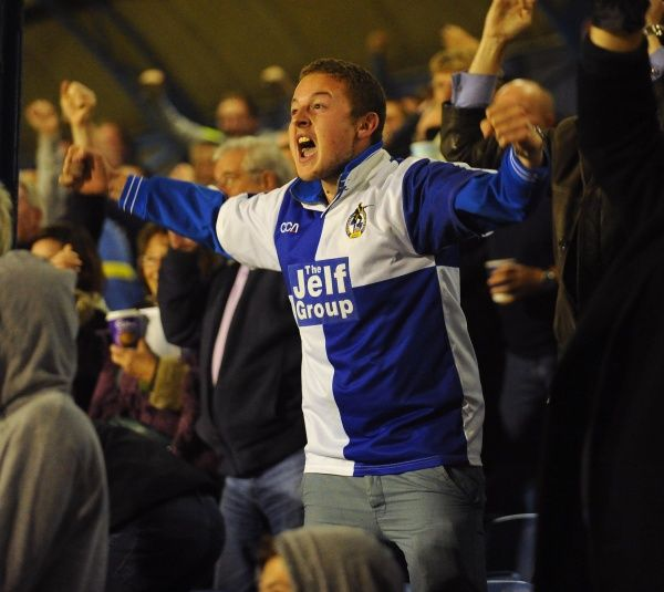 A Bristol Rovers fan celebrates his side taking the lead - Photo mandatory by-line: Seb Daly/JMP - Tel: Mobile: 27/09/2013 - SPORT - FOOTBALL - Roots Hall - Southend - Southend United V Bristol Rovers - Sky Bet League Two