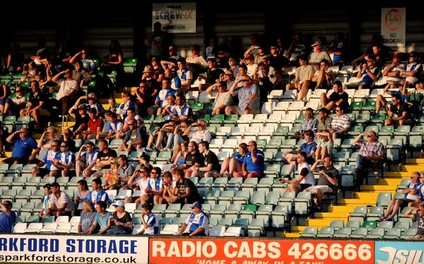 Bristol Rovers Fans watch on. - Photo mandatory by-line: Alex James/JMP - 15/07/2014 - SPORT - FOOTBALL - Huish Park - Yeovil - Yeovil Town V Bristol Rovers - preseason