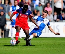 tackles AFC Telford's Godfrey Poku - Photo mandatory by-line Alex James JMP - Mobile